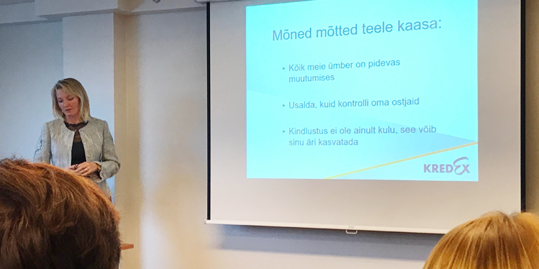 Kairi Vaade-Kuusemets jagamas nõuandeid KredEx Krediidikindluse seminaril Tallinna Ettevõtluspäeval 2017