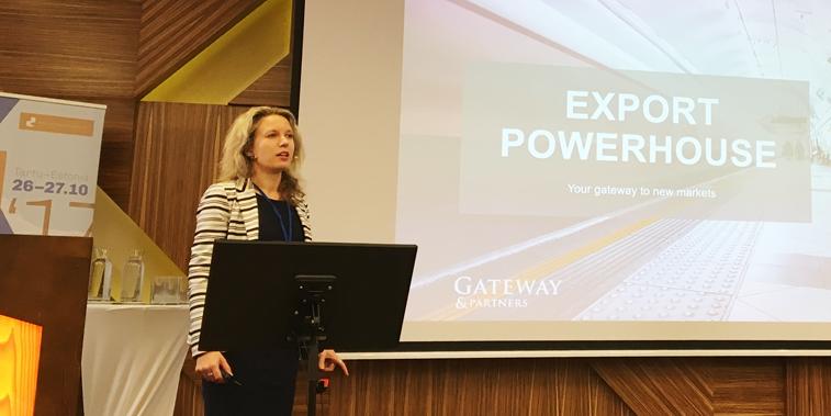 Gateway & Partners Läti ekspordinõustaja Krista Pētersone kõnelemas Mööblitootjate konverentsil 2017